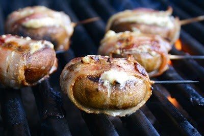 Blue Cheese Filled Bacon Wrapped Mushrooms