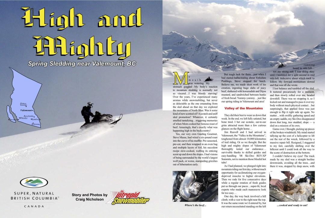 Snowmobile Valemount British Columbia