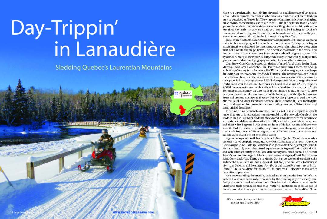 snowmobile lanaudiere Crossing bridge while Day-Trippin' in Lanaudiere