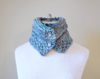 floral vine knit scarf blue