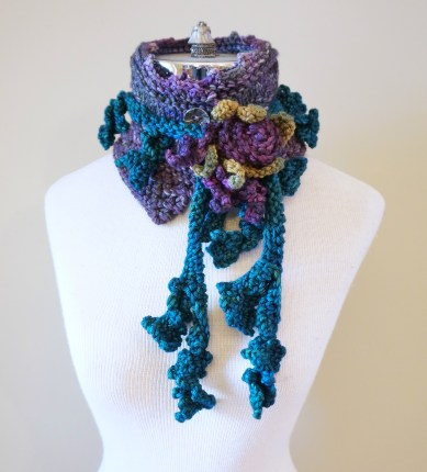 floral vine knit scarf purple.3JPG