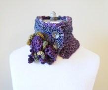 floral vine knit scarf purple1