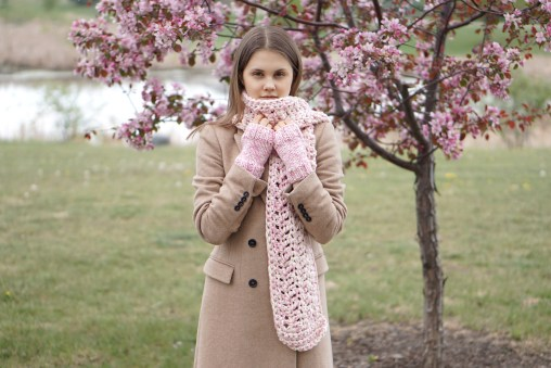 ashley long scarf pink ivory9