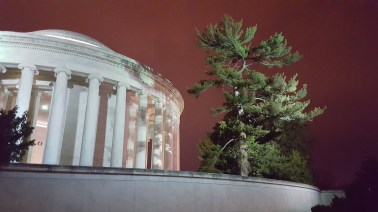 The Jefferson memorial on a warm winter night.