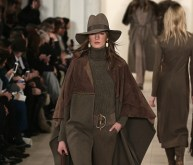 A model walks the runway at the Ralph Lauren fashion show during Mercedes-Benz Fashion Week Fall 2015 at Skylight Clarkson SQ. on February 19, 2015 in New York City.