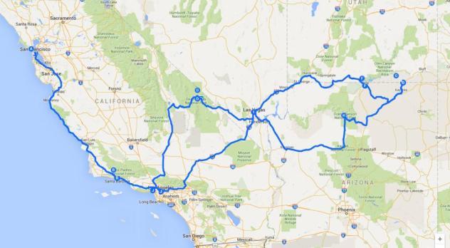 mappa del tour della west coast on the road