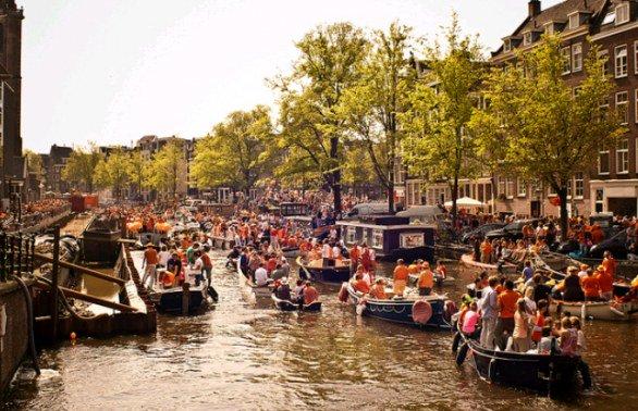 Festa giorno del Re ad Amsterdam