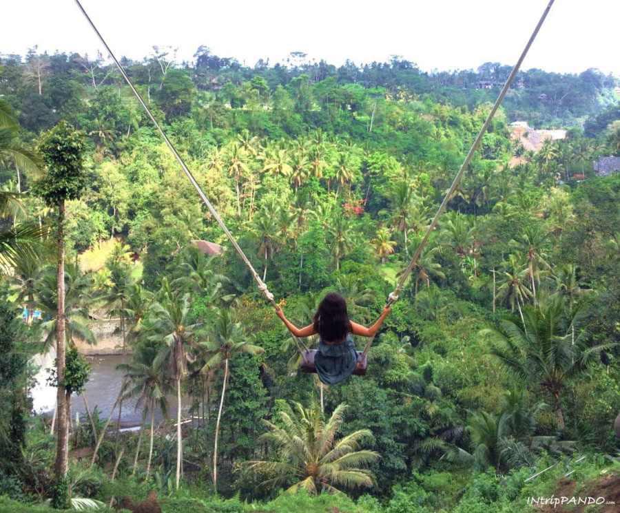 Altalena nella giungla a Bali