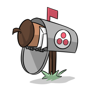 Illustration of a mailbox with the Asana logo with an Intro CRM acorn and envelopes inside.