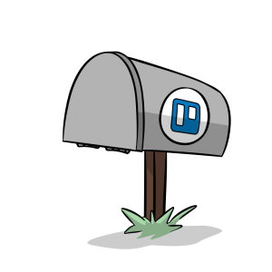 Illustration of a closed mailbox with the Trello logo.