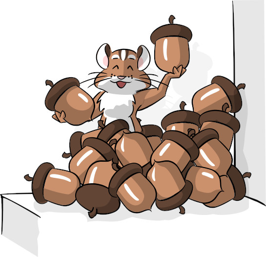 Illustration of the Intro CRM chipmunk mascot sitting on a ledge holding and surrounded by acorns.
