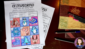 Winter Spanish vocabulary Coloring Pages