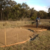 Building a sand base for a water tank