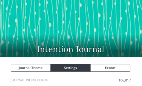 word counts for intention journal