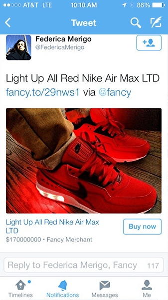 buy now buttons from @fancy showing up in twitter stream