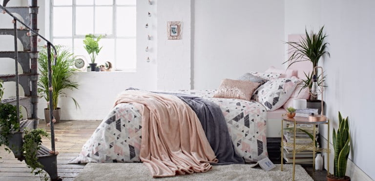 Primark minimulux back to college pink grey bedding