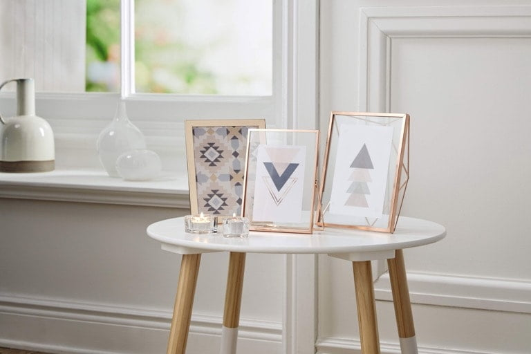 Aldi Spring Home 2018 Gold Geometric Picture Frames and White Coffee Table