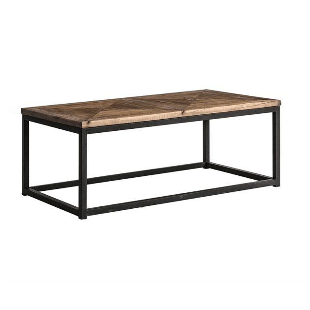 industrial style coffee table with aged wood