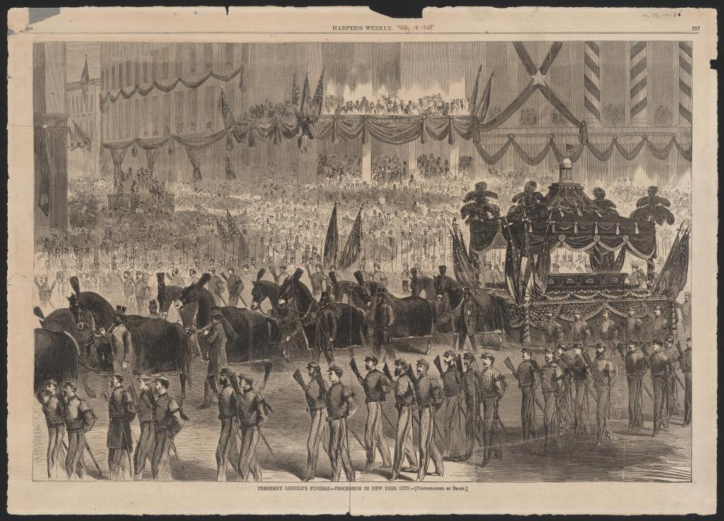 Drawing of Lincoln's funeral with casket carried by Invalid Corps pallbearers, soldiers, horses