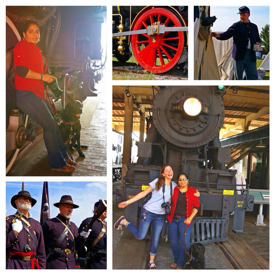 Images: Day and Gamma by train wheels, close up of train wheel, Union Soldier by tent, Union soldiers on parade, Julia and Day in front of a steam locomotive