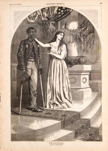 Thomas Nast Franchise - Black Amputee Veteran with Lady Liberty asking Franchise. And not this man?