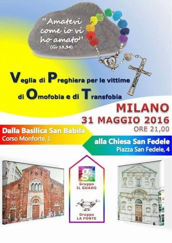 Manifesto della fiaccolata e della veglia per le vittime dell'omotransfobia di Milano (31 maggio 2016)