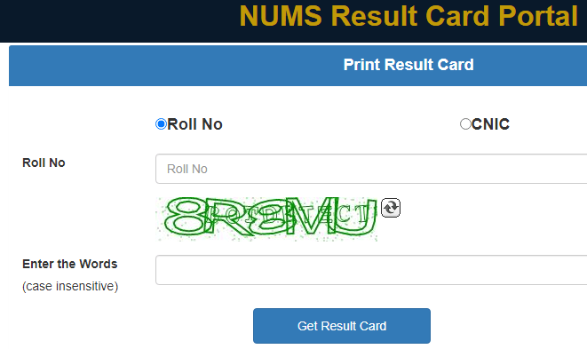 NUMS result 2021 by name