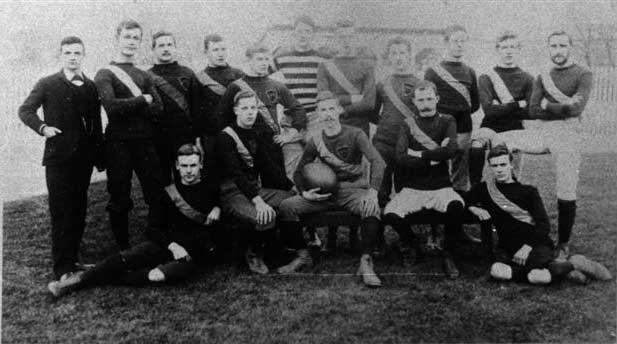 The 1865 England Football team shown here waiting for some other countries to start playing the game