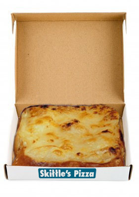 """The traditional Skittle's 12 inch """"pizza"""" cheese on toast"""