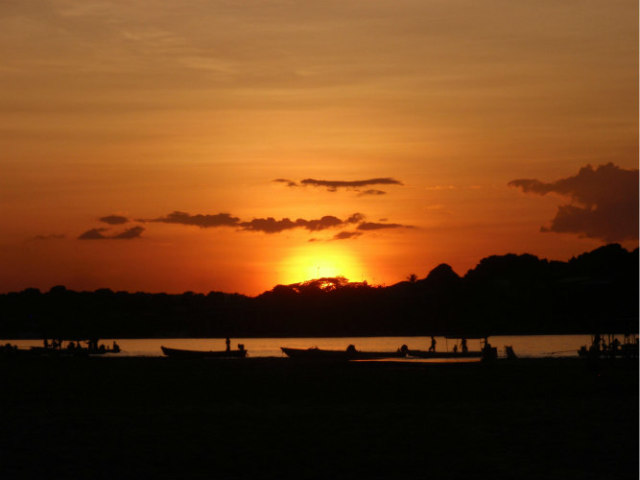 Sunset on the Amazon: View of the river with the rainforest in the background