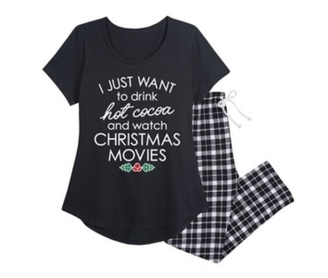 Air Waves Womens Holiday Flannel Pajama Set Black Size X