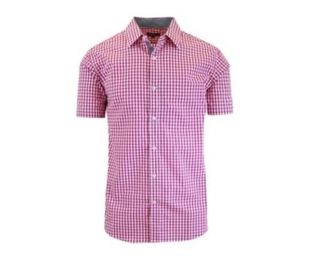Mens Gingham Dress Shirts Pink White Sizel