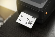 Barcode label printer. Printing Barcode, Li-ion, lithium-ion battery, mobile printer