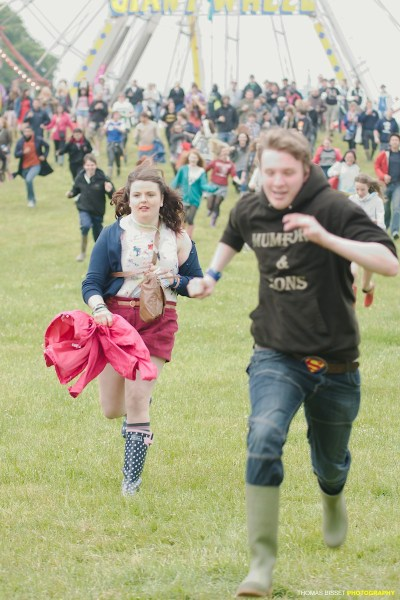 The run down the hill as fans are allowed into the arena at 2012