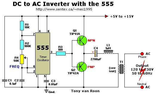 12VDC to 220VAC Inverter with 555 Timer  Inverter Circuit and Products