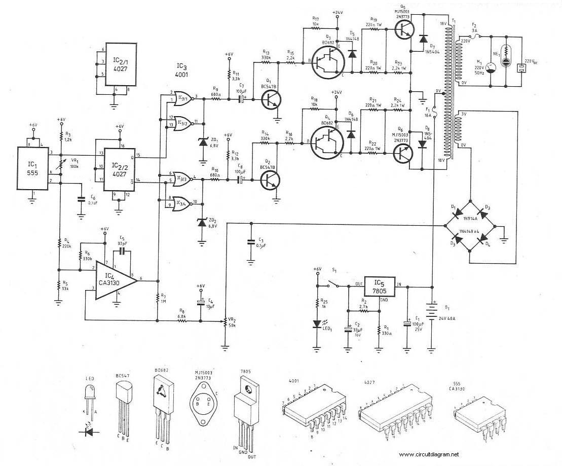 300W Power Inverter Circuit 24VDC to 220VDC  Inverter