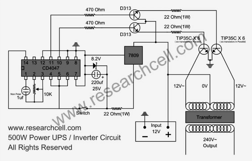 500W Power Inverter Circuit based TIP35C  Inverter Circuit and Products