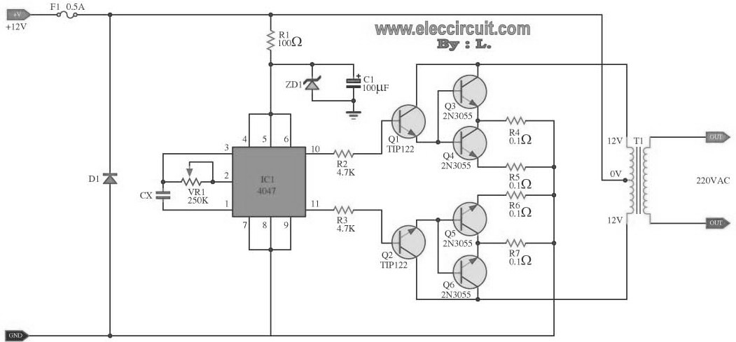 inverter circuit diagram furthermore mos fet inverter circuit Batteries and Inverter to Breaker Panel Wiring