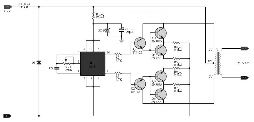 simple 100w inverter circuit 12vdc to 220ac inverter circuit andinverter circuit 100w with 2n3055