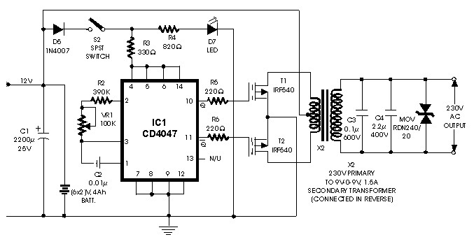 simple inverter 100w with fet irf540 inverter circuit and productssimple inverter circuit 100w with fet irf540