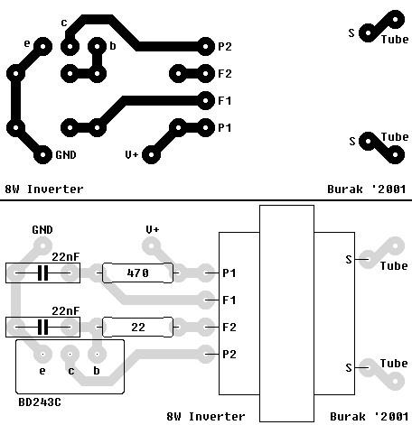 Inverter for florescent lamps PCB design