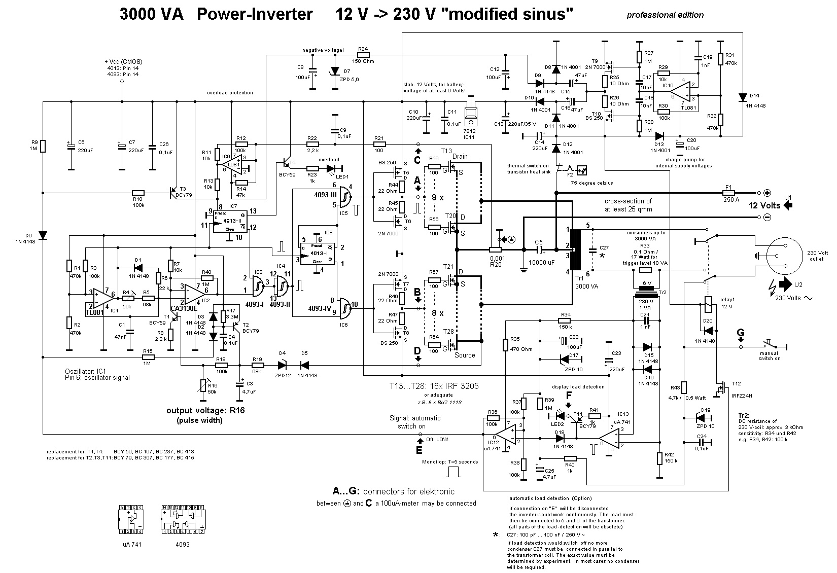 3000W Power Inverter 12V to 230V Scheme. This is the circuit diagram ...