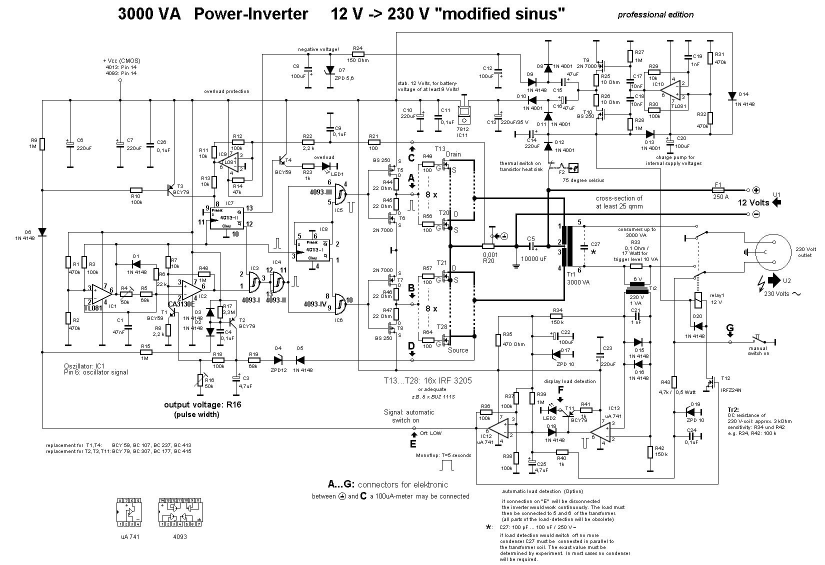 3000W Power Inverter 12V to 230V Scheme - Inverter Circuit ...