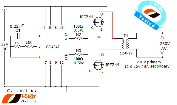 mosfet power inverter 500w using rfp50n06 inverter circuit and