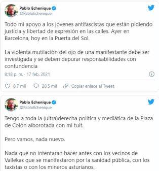 echenique-tuits-hasel% - A Iglesias se le cae otra vez la hemeroteca encima