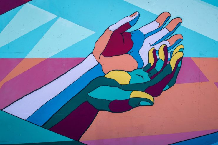 Illustration of two outreached hands