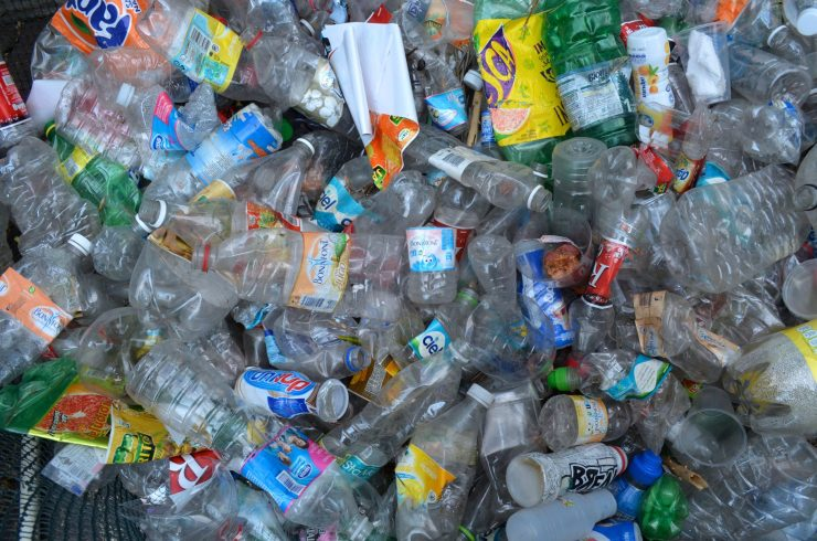Plastic bottles gathered for recycling