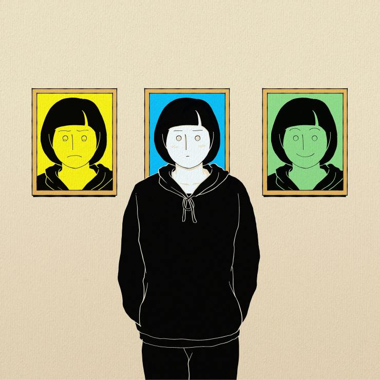 Young person with neutral expression, between pictures of the same youth with sad expression and happy expression.