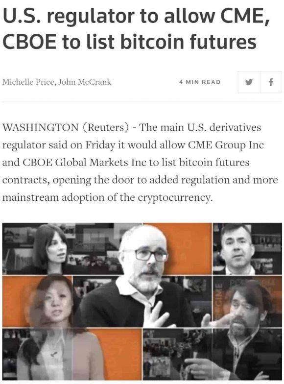 Reuters positiv Bitcoin nyheder