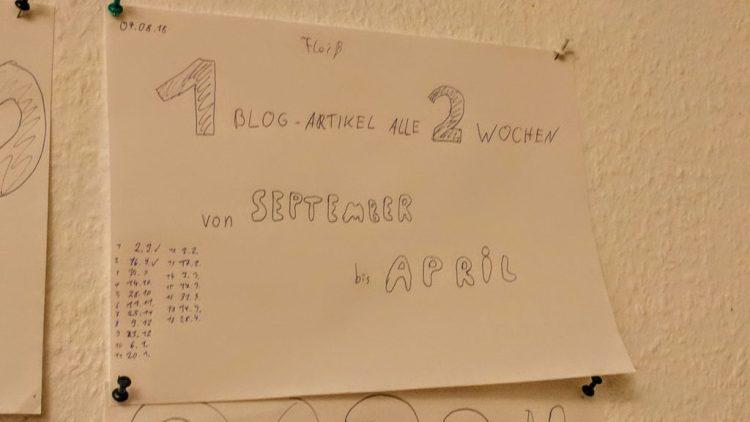 1 Blogartikel alle 2 Wochen von September bis April